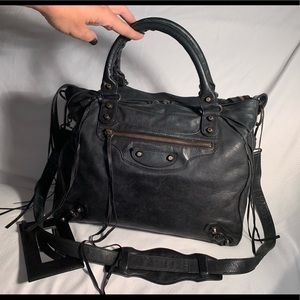 Balenciaga Gorgeous Black Leather Velo Handbag